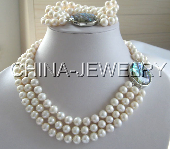 Beautiful 8 17-19 3row 8-9mm white round freshwater pearl necklace & bracelet^^^@^Noble style Natural Fine jewe SHIPPING new -Beautiful 8 17-19 3row 8-9mm white round freshwater pearl necklace & bracelet^^^@^Noble style Natural Fine jewe SHIPPING new -