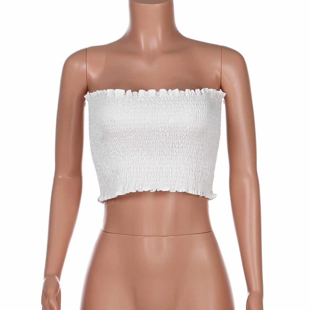 Feitong אופנה נשים סקסי סטרפלס Bandeau צינור טי חולצות גבירותיי Slim חולצה אפוד מזדמן שרוולים יבול למעלה קיץ נקבה Blusa