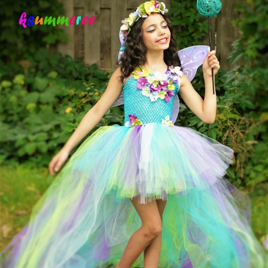 Детское Радужное платье-пачка принцессы с цветами, детский сказочный костюм с длинным шлейфом, цветные свадебные бальные платья для девоче...