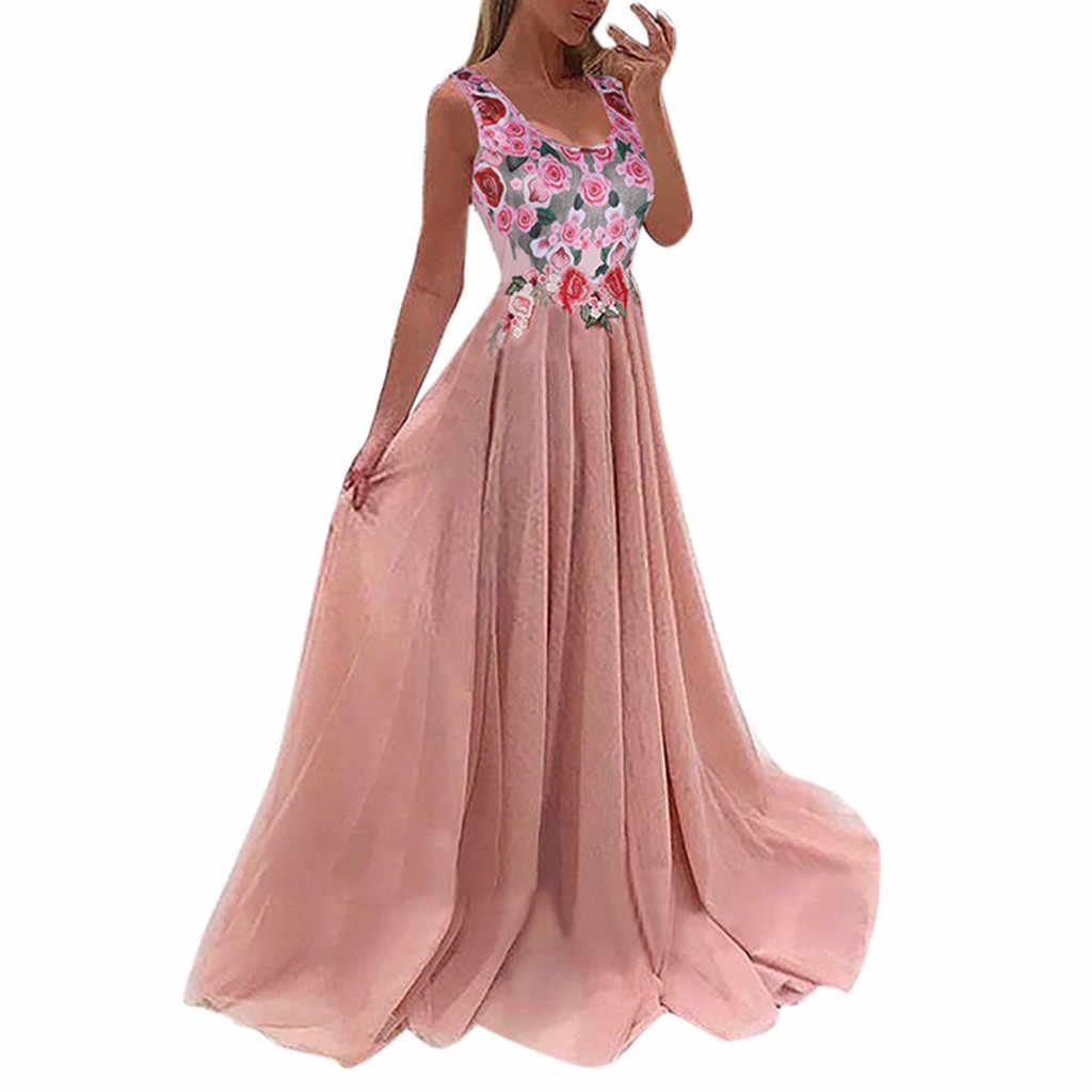 Women Lace Applique Elegant Coral Bridesmaid Floral Print Sleeveless Wedding Guest Dress For Women Dresses Robe Femme Vestido