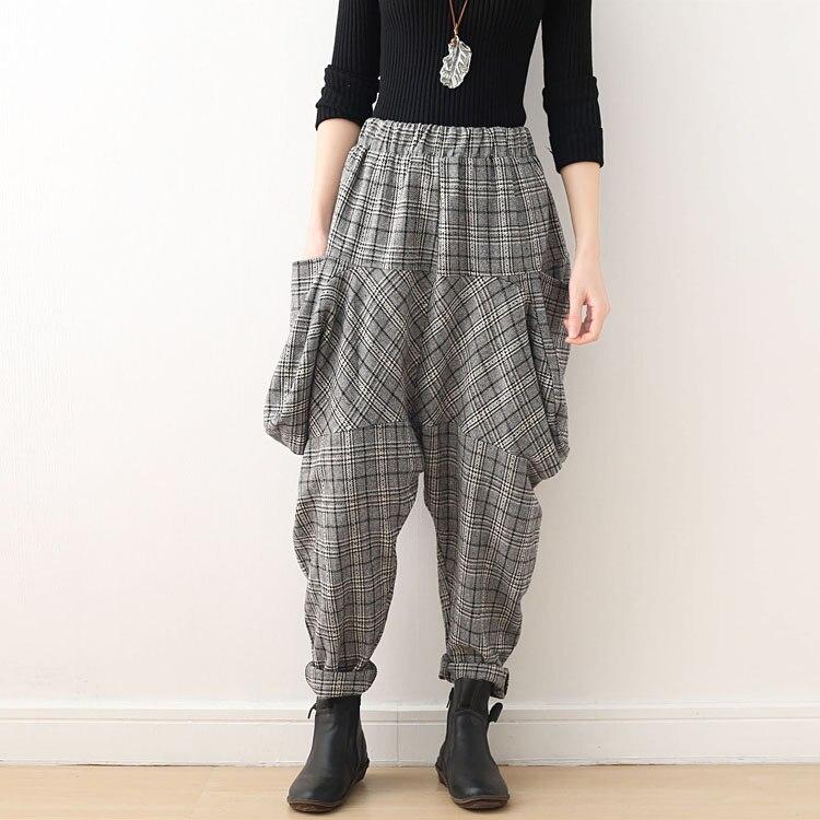 Sueltos Invierno Elástico pantalones Holgados De Nuevo Light Alta Cuadros Harem Pantalones Lana Bebé Gray Largos Para A Mujer Cintura Tamaño light Coffee 7dqSq