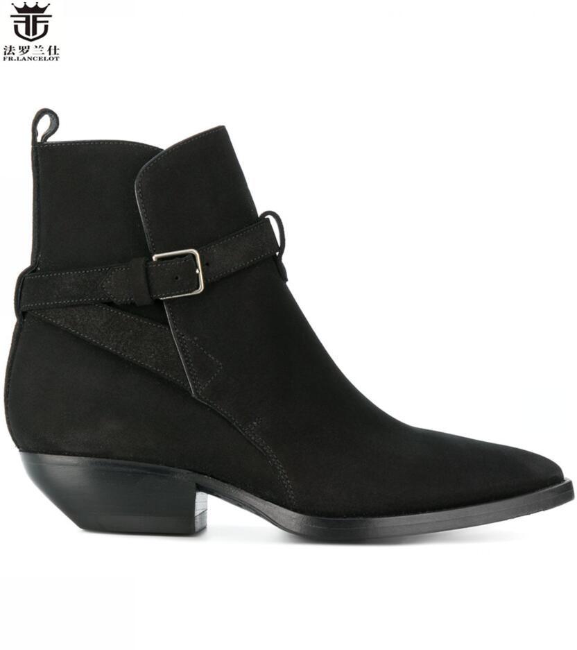 Здесь продается  FR.LANCELOT New arrival Chelsea boots men leather boots gentlemen Suede Leather ankle booties high top slip on buckle men boots  Обувь