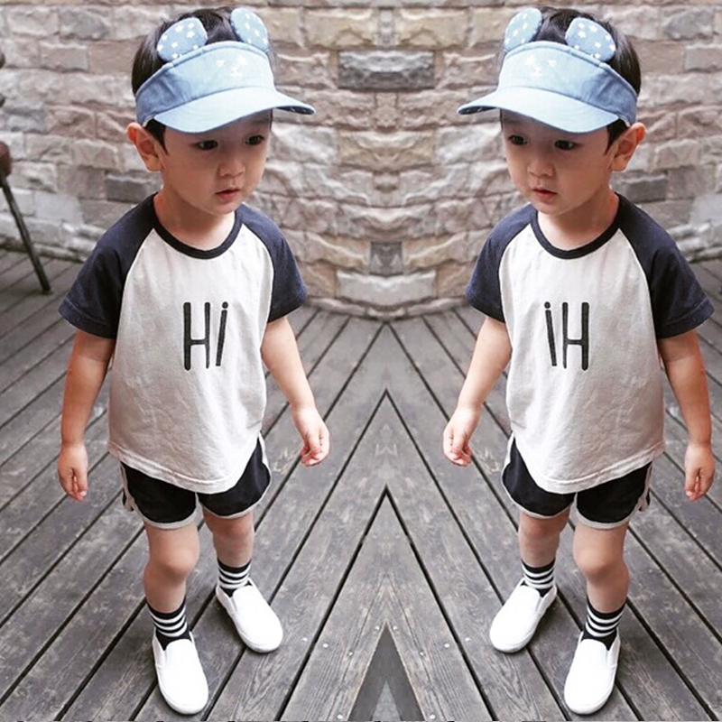 2018 New Kids Clothes Set Summer letter Boys Clothes Sets Baby T-Shirts + Short Pants Sports Suit for Boy Girl Outfits ST276