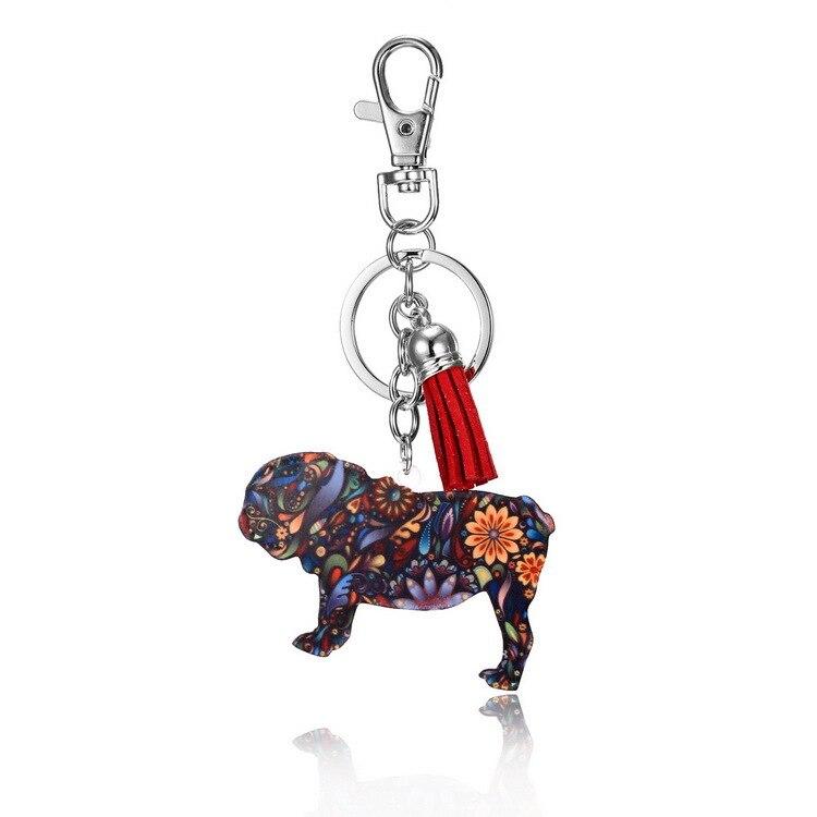 Bonsny Enamel Alloy Rhinestone French Bulldog Pug Dog Key Chains Keychain Animal Jewelry For Women Girls Bag Car Charms Gift Pet in Key Chains from Jewelry Accessories