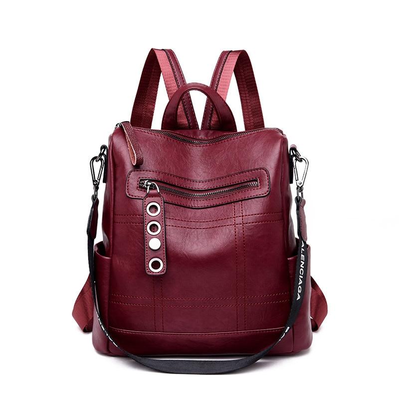 3 In 1 Fashion Leather Backpack Women Shoulder Bag Female Back Pack Ladies Travel Backapck Bagpack Mochila