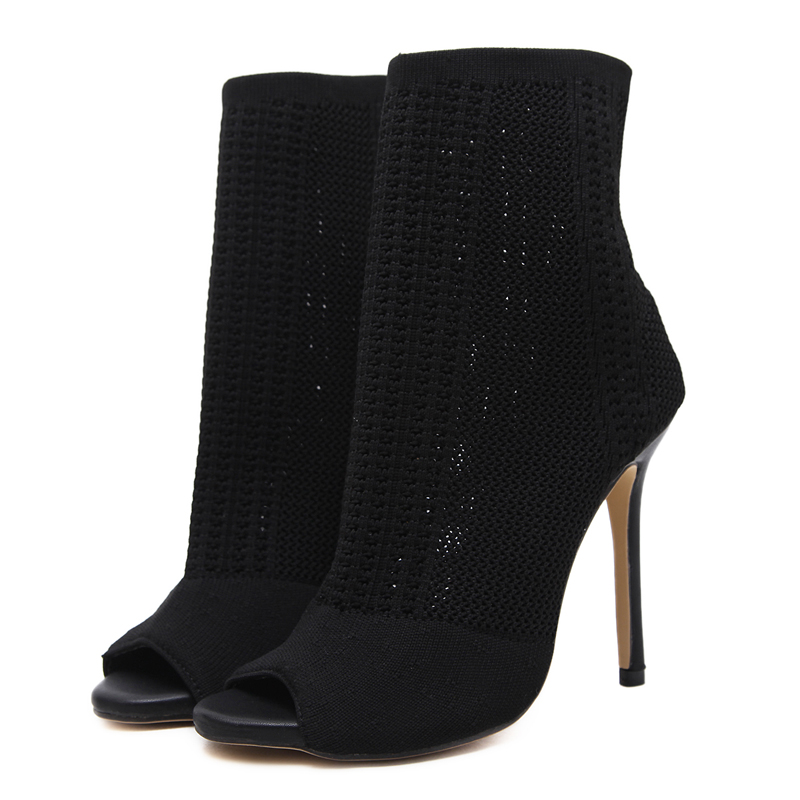 US $24.38 31% OFF|Booties Womens Shoes Green Elastic Knit Sock Boots Ladies Open Toe High Heels Fashion Kardashian Ankle Boots Women Pumps in Ankle