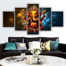 Modular Poster Pictures Framework 5 Pieces Elephant Trunk God Ganesha Canvas Paintings Decor Home Living Room Wall HD Art Prints