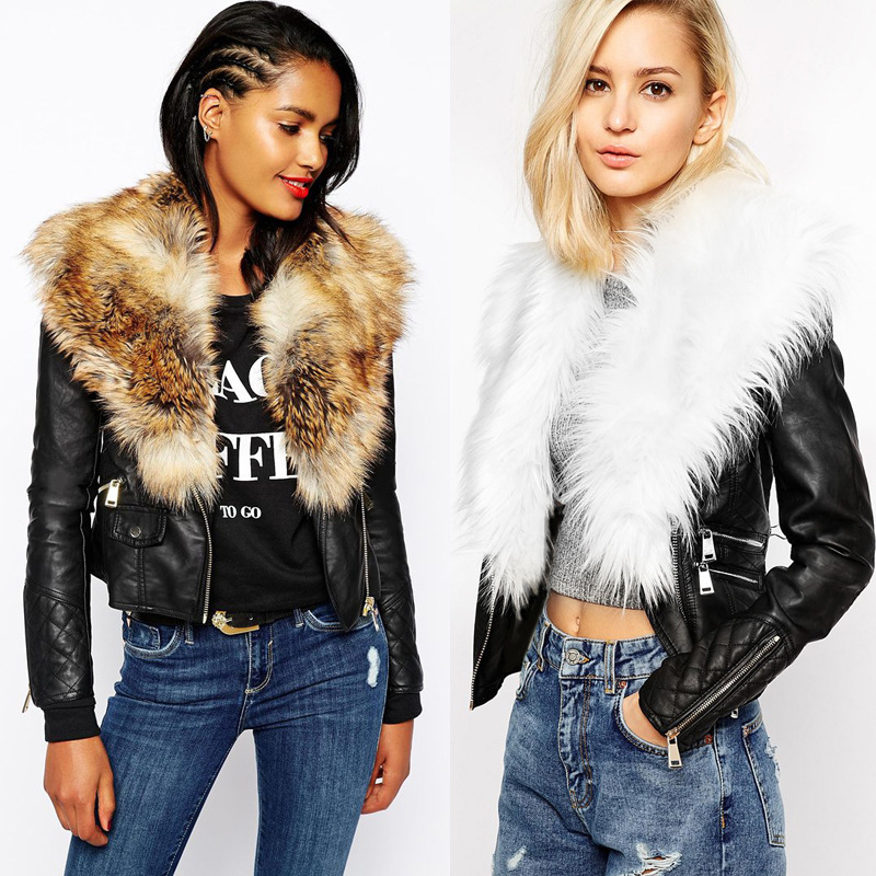 Fashion artificial leather jacket With fur collar Women Pu ...
