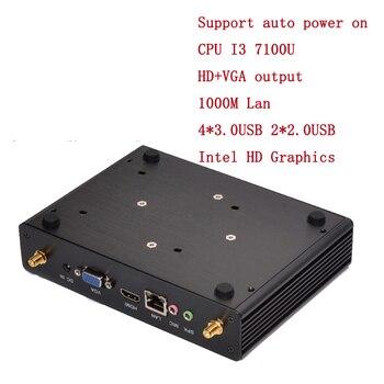 2019 Metal Case I3 7100U fanless office mini pc Box 6*USB HD VGA display 24hours working 64bit windows10 windows7 mini media Box