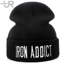 New Brand Cotton Beanie Cap Letter IRON ADDICT Casual Beanies For Men Women Fashion Knitted Winter Hat Hip-hop Skullies Warm Hat