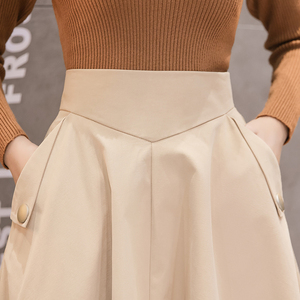 Image 4 - 2019 春のハイウエスト A ラインビッグスイングミディスカート韓国ポケットオフィスレディエレガントな女性スカートペチコートファムファルダ