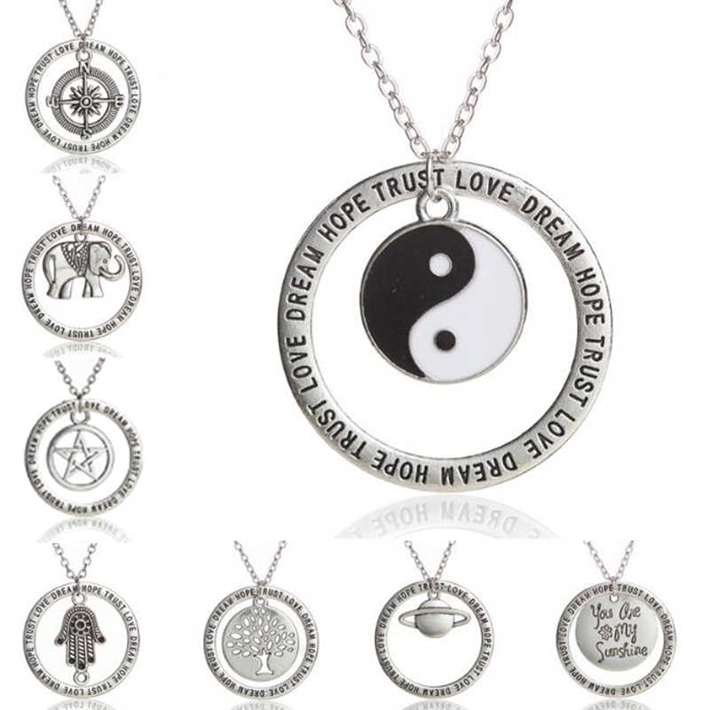 Compass Pentagram Yin Yang Saturn Dream Hope Trust Necklace Engraved Round Pendant Necklace For Women Fashion Inspire Jewelry