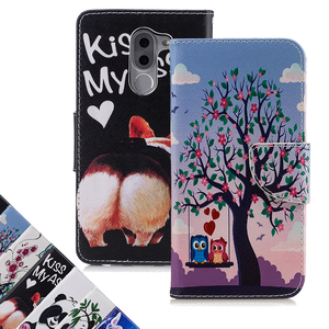 New Hot Selling Flip Stand Leathrer Case Owl Panda Butterfly Pattern Painted Wallet Cover for Huawei Honor 6X 6C Bag Housing