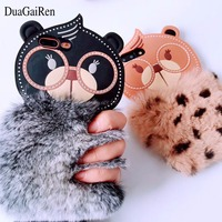 DuaGaiRen Korea Style Cute Cartoon Silicon Rabbit Fur Bear Case For IPhone7 7plus 6 6s 6plus