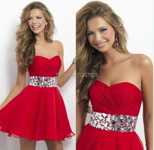 Hot Short Red Homecoming Dresses Sweetheart Beaded Sleeveless Short Mini Prom Dress Backless chiffon Party Cocktail Gowns TK170