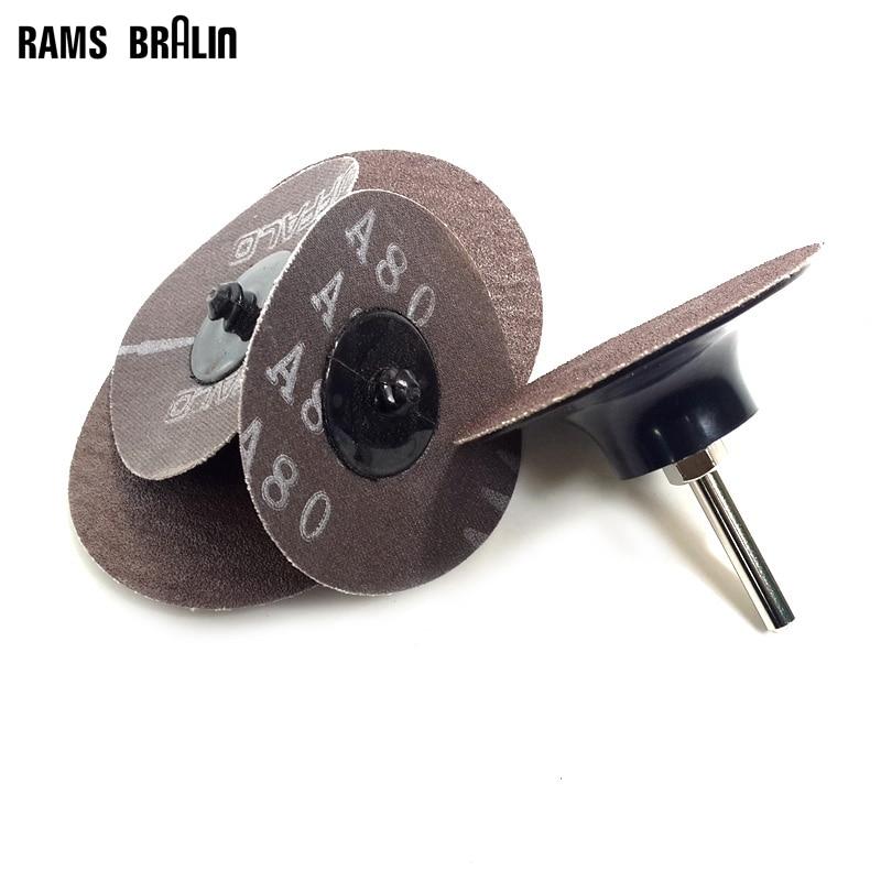 100 pieces 3 Brown Alumina X81 Roloc Torque Sanding Disc 1 piece 6mm Shaft Holder for