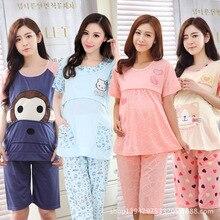 Месяц кормящих тонкие оптом материнства коротким хлопка костюмы лето беременных пижамы
