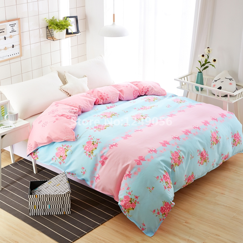 Pastoral Beauty Flower Duvet Cover 1 Pc Pink Butterfly Knot Comforter/Quilt/Blanket Case with Zipper Twin Full Double Queen Size