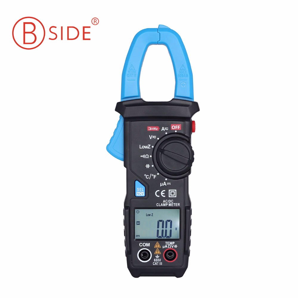 BSIDE Auto Range Digital Clamp Meter 6000 Counts DC/AC 600A 600V Resistance Capacitance Frequency Temperature NCV Multimeter auto digital multimeter 6000counts backlight ac dc ammeter voltmeter transform ohm frequency capacitance temperature meter xj23