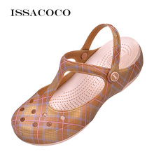ISSACOCO Summer Womens' Slippers Sandals Beach Garden Shoes Jelly Solid Thick Heels Home Flip Flops
