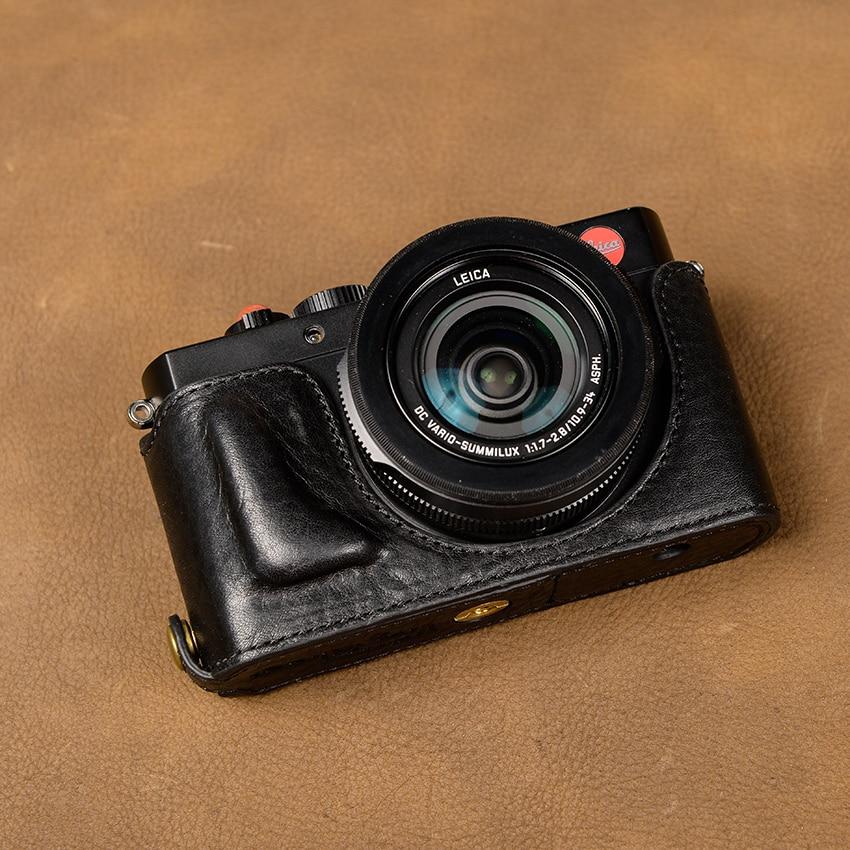 цена на [VR] Genuine Leather Handmade Camera Case Bag Half Body Cover For Leica D-LUX Typ 109 Open Battery Design