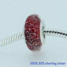 Nieve perlas de vidrio blanco 925 plata esterlina encanto de la joyería DIY se adapta al estilo europeo Original pulseras y collares