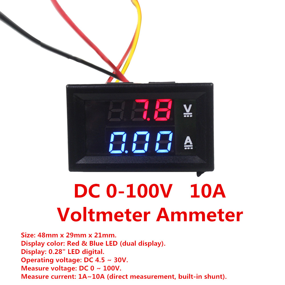 Smart Dc 100v 10a Voltmeter Ammeter Blue Voltage Meters Tools Red Led Amp Dual Digital Volt Meter Gauge Excellent Quality