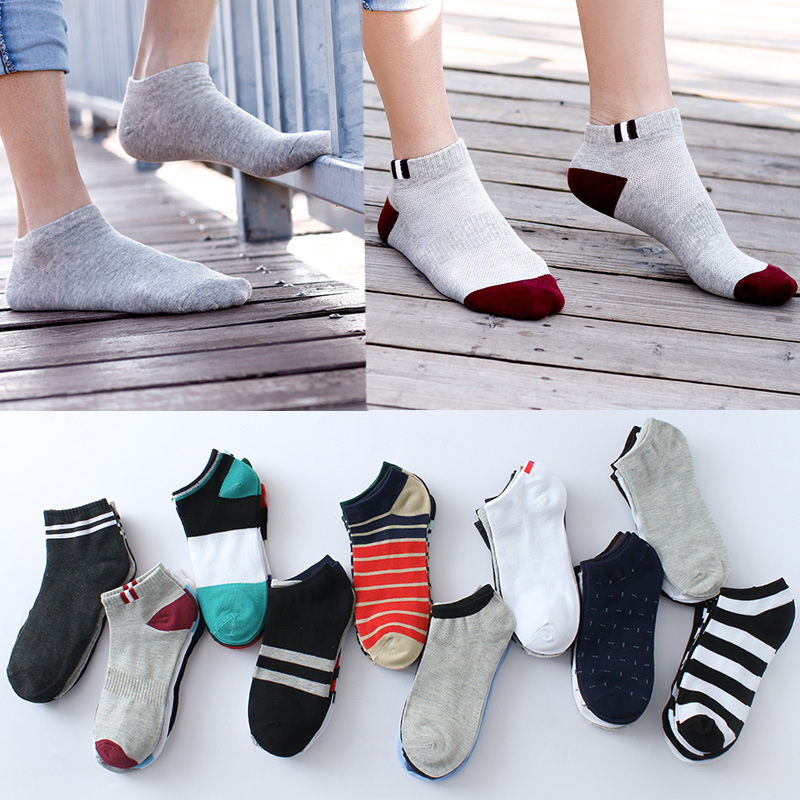New 5 Pairs/Lot Men Mixed Color Cotton Socks Free Size Men Casual No Show Socks Male Summer Autumn Breathable Socks Men's Gift
