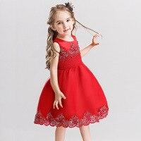 여름 아기 소녀 민소매 장식 조각 꽃 파티 드레스 웨딩 선발