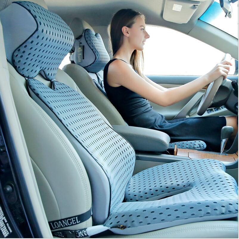 High Quality Car Cushion Set Memory Foam Car Lumbar Support Set Back Lumbar Neck Pillow Seat Cushion For Driving Office Home