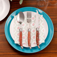 24pcs Laguiole Style Stainless Steel Dinnerware Set  Cutlery Flatware Wood Handle Steak Knife Fork Spoon Tableware Tool with box