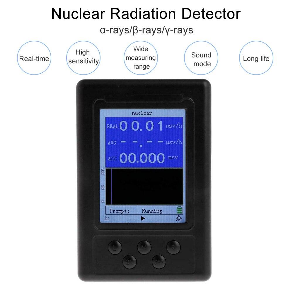 Detector de Radiação Modo de Som Nuclear Raios Gama Substâncias Radionuclídeos Alta Sensibilidade gm Tubo Carregamento Usb Inteligente