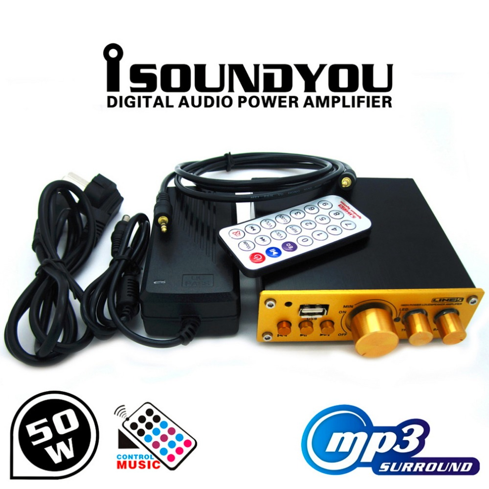 ФОТО In stock! 50W Digital Power Amplifier Video MP3 Music Sound HIFI Stereo+Remote Control Newest