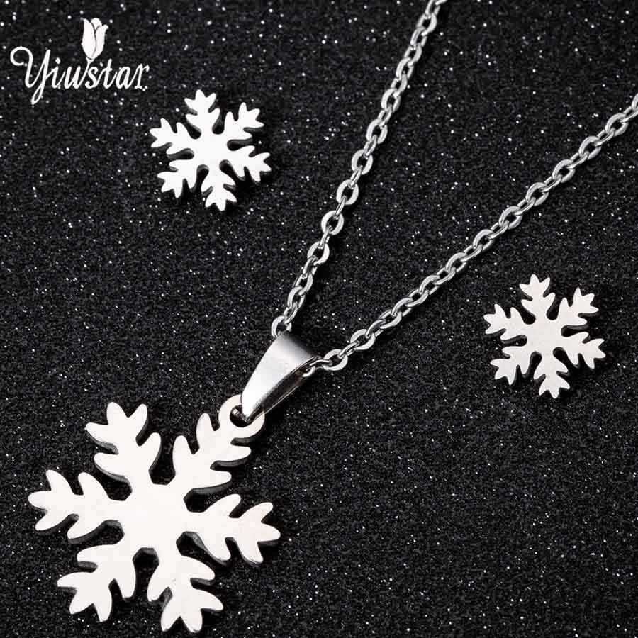 yiustar Silver Snowflake Necklace Stud Earrings Jewelry Sets Women Stainless Steel Long Choker Necklaces Earring Christmas Gifts