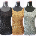 Women's Summer Tank Top Shining Bling Sequined Sleeveless Vest Casual Blouse smt87