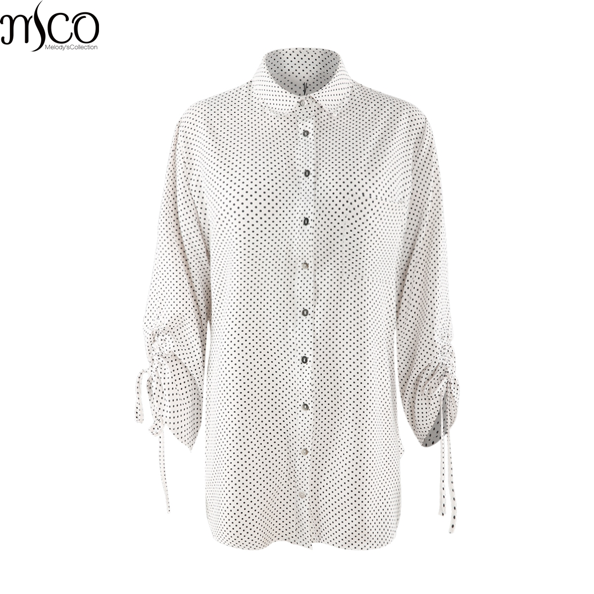 MCO 2018 Spring Lace Up Sleeves Classic Plus Size OL Blouse Simple Dot Print Tops Oversized Shirt Basic Big Women Top 5xl 6xl