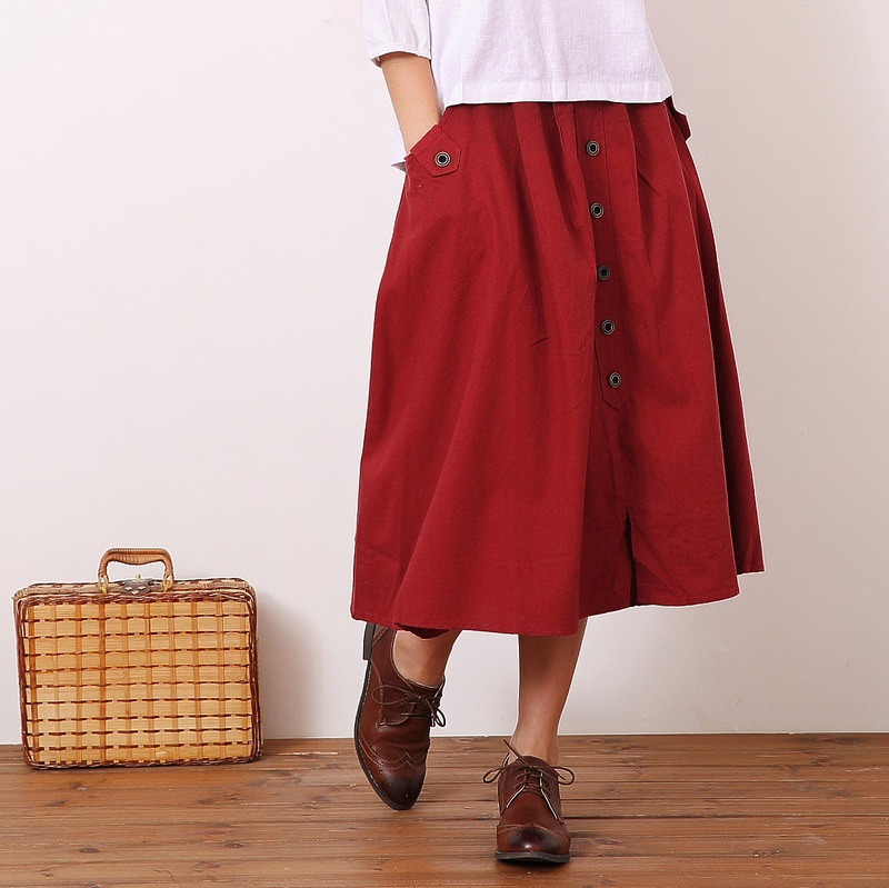 2017 лето женщины макси юбка дамы белье свободные твердые vintage краткое хлопок длинная юбка мода мори девушка дешевые карманы мило