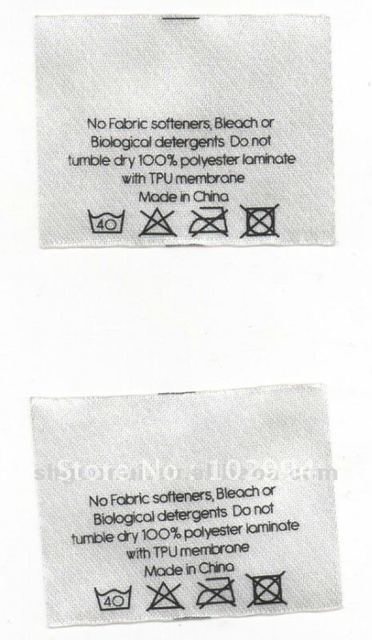 polyester satin garment care label
