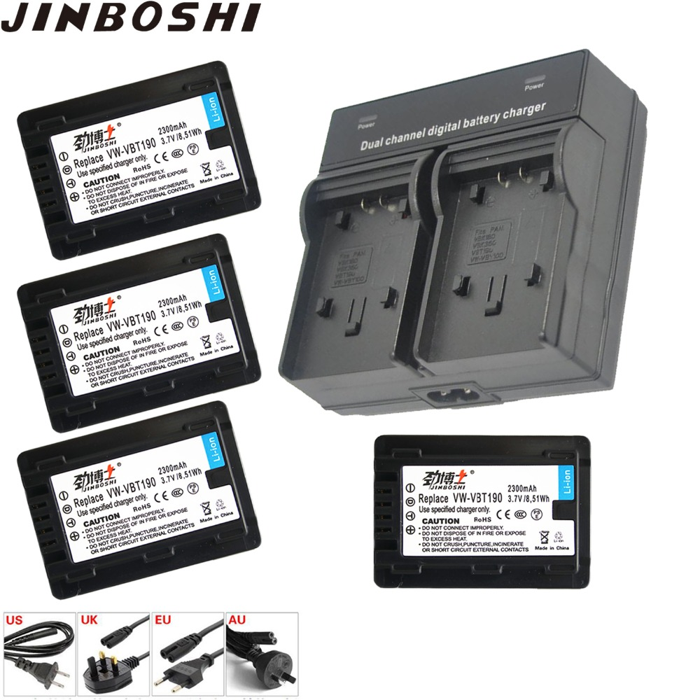 New 4X 2300mAh VW-VBT190 Battery + Battery chargerfor Panasonic HC-V250 HC-V380 HC-V510 HC-V520 V710 V720 VX870 VX981K WXF991KNew 4X 2300mAh VW-VBT190 Battery + Battery chargerfor Panasonic HC-V250 HC-V380 HC-V510 HC-V520 V710 V720 VX870 VX981K WXF991K
