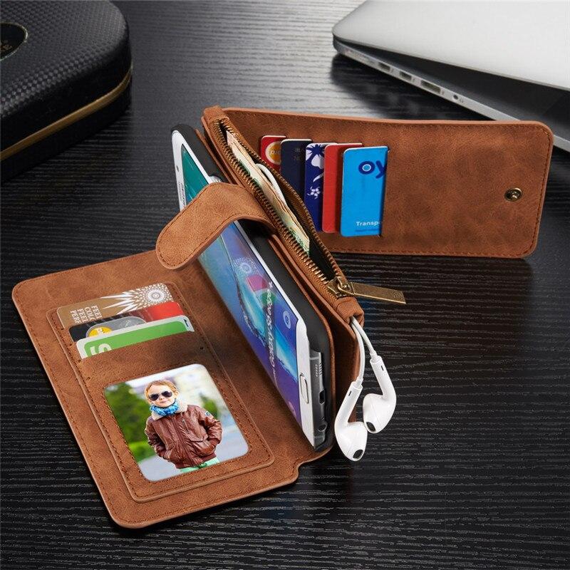 다기능 지갑 PU 가죽 삼성 S6 가장자리 플러스 S7 가장자리 NOTE5 지퍼 지갑 파우치 전화 케이스 레이디 핸드백
