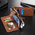 Multifunções carteira estojo de couro genuíno para samsung s6 edge plus/s7 edge/note5 zíper da bolsa da bolsa de telefone casos bolsa da senhora
