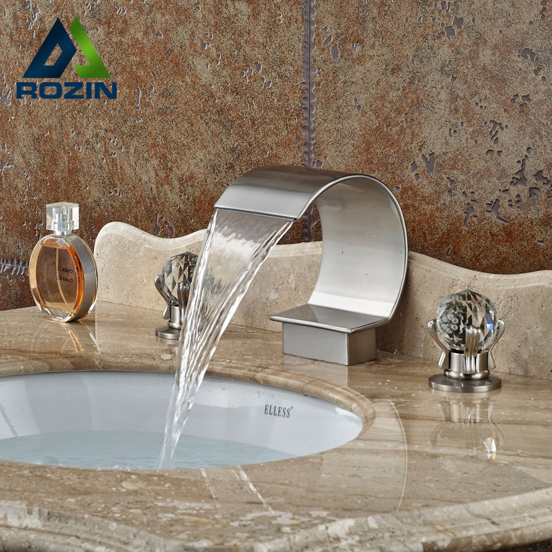 Widespread 3 Holes Waterfall Basin Faucet Brushed Nickel Bathroom Sink Mixer Tap nickel brushed led waterfall bathroom sink faucet double handles mixer tap widespread 3pcs basin mixer tap
