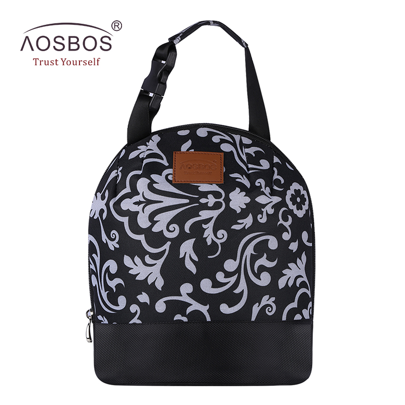 AOSBOS Portable Cooler Lunch Box Bag Tote Insulated Canvas lunch Bag Thermal Food Picnic Bento Lunch Bags for Women kids Men купить недорого в Москве