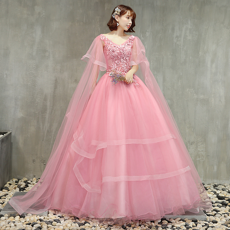 Hot Sale Pink Quinceanera Dresses V-neck Appliques Puffy Ball Gowns Tiered Skirt Vestidos De Gala Largos Sweet 16 Prom Gowns