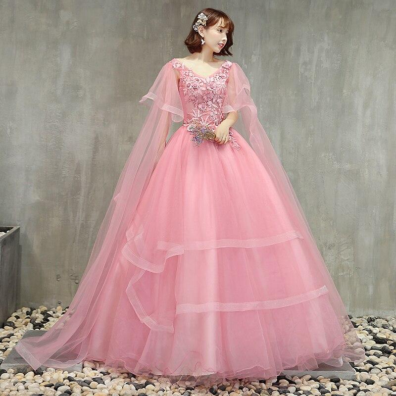 Offre spéciale rose Quinceanera robes v-cou Appliques bouffantes robes De bal jupe à plusieurs niveaux Vestidos De Gala Largos doux 16 robes De bal