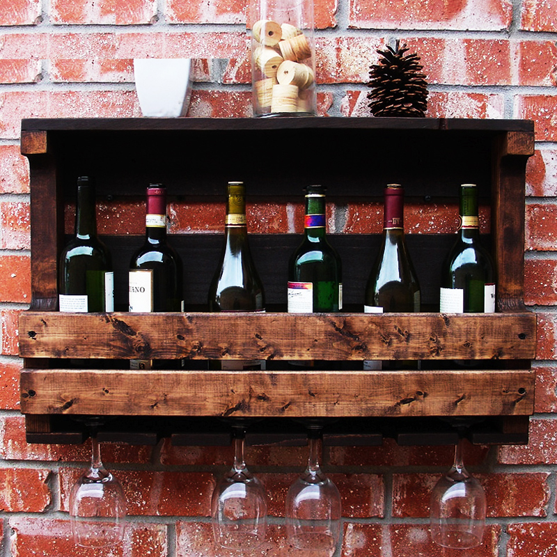 Wine wooden rack nordic retro old wood wall hanging for Suspension bar cuisine