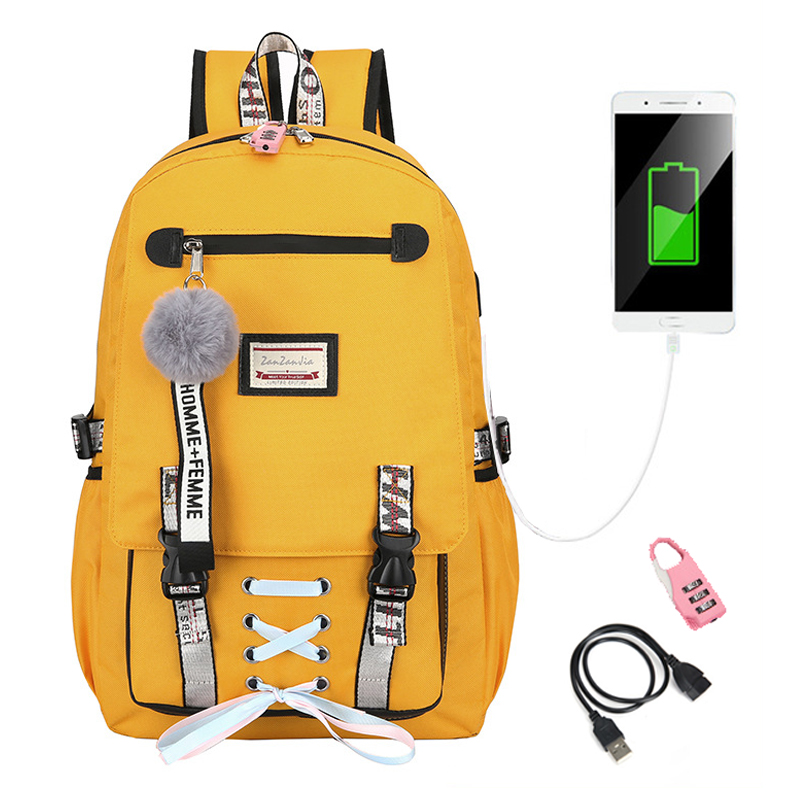 2019 Anti-theft Backpack USB School Bags For Girls Teenager Yellow Backpacks College Large Daypack Travel Shoulder Bag With Lock image