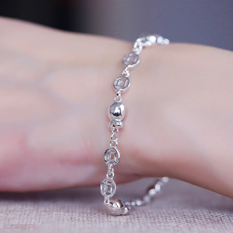 Pure S990 Silver Bracelet For Women Girl Coin Fish Beads 7.5inchL Gift New FriendPure S990 Silver Bracelet For Women Girl Coin Fish Beads 7.5inchL Gift New Friend