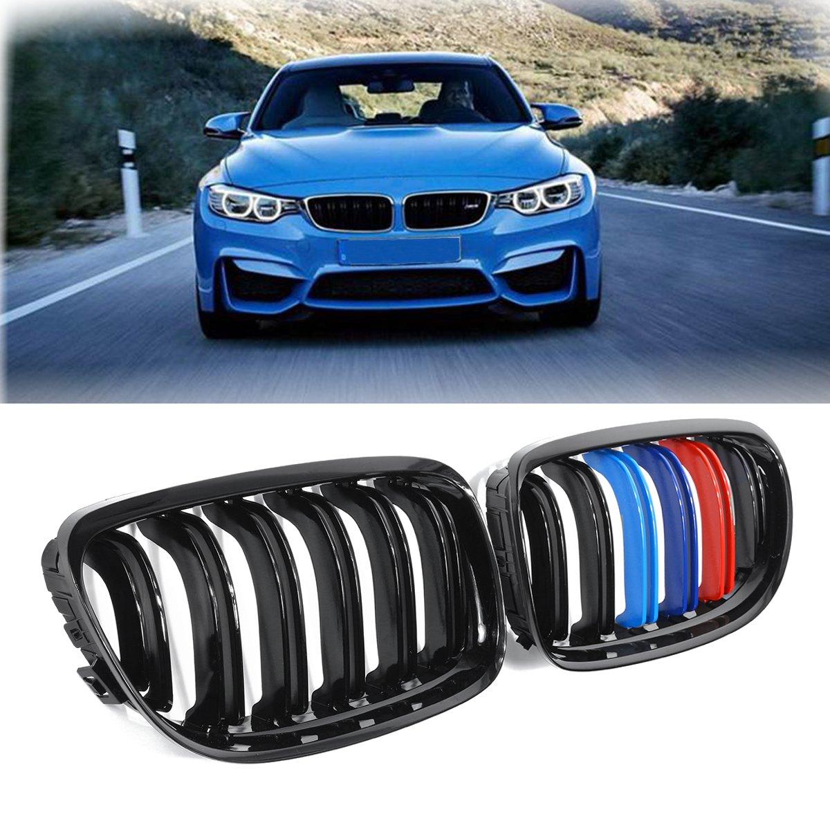 Для BMW E90 2008 2009 2010 2011 Пара Новый ABS глянцевый черный м-Цвет 2 линии двойная планка спереди почек Гриль Решетки