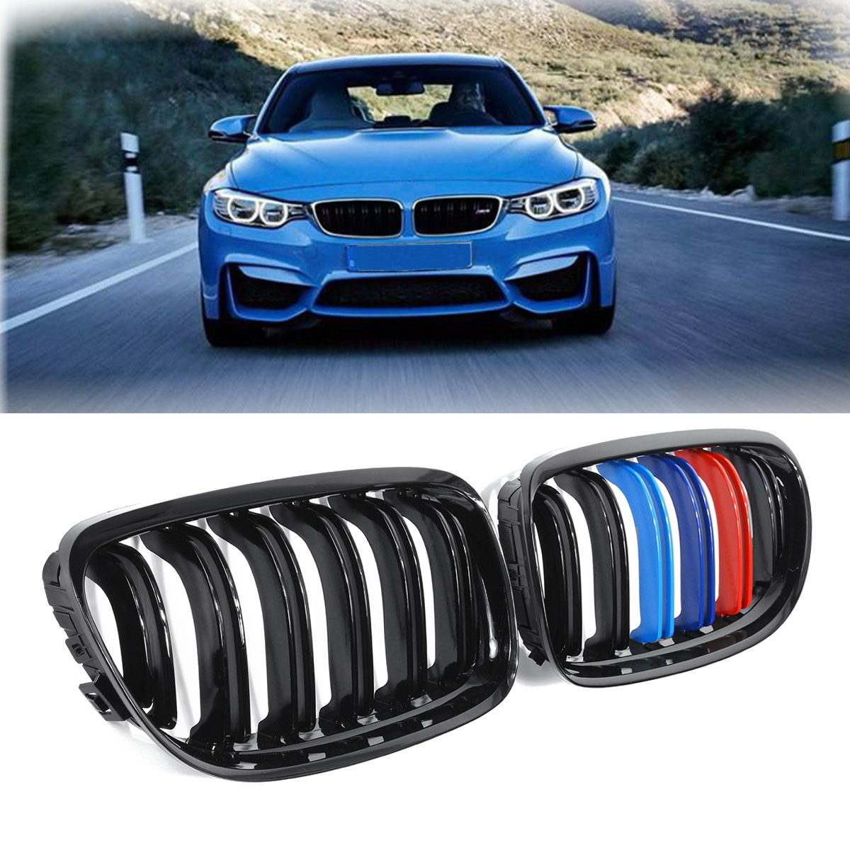 For BMW E90 2008 2009 2010 2011 Pair New ABS Gloss Black M-Color 2 Line Double Slat Front Kidney Grill GrilleFor BMW E90 2008 2009 2010 2011 Pair New ABS Gloss Black M-Color 2 Line Double Slat Front Kidney Grill Grille